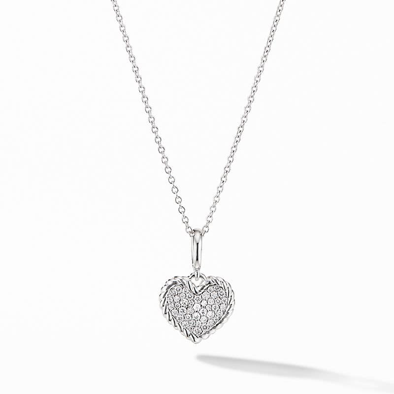Cable Collectibles Pavé Plate Heart Charm Necklace in 18K White Gold