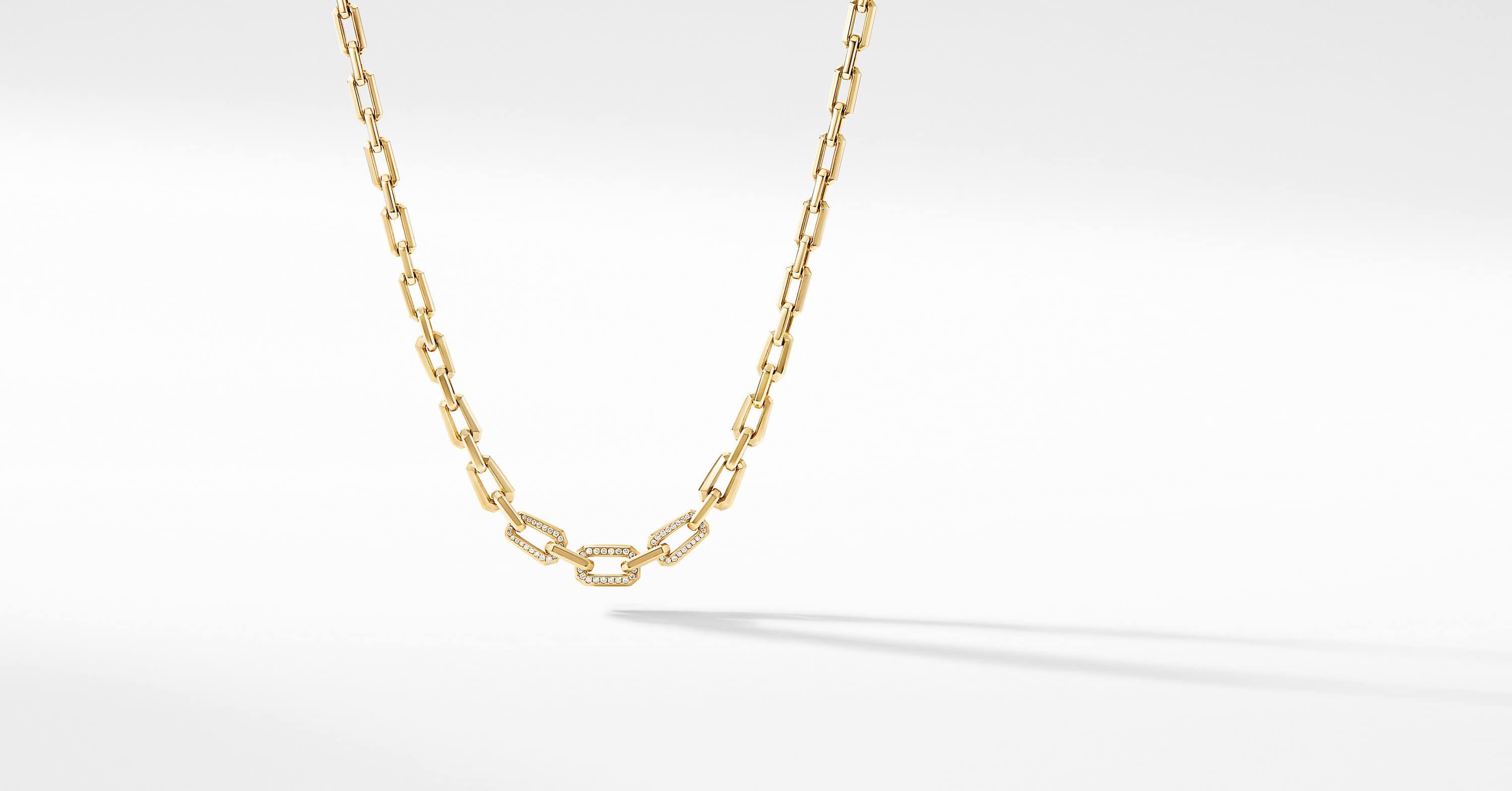 Novella Faceted Chain Necklace in 18K Yellow Gold with Pavé