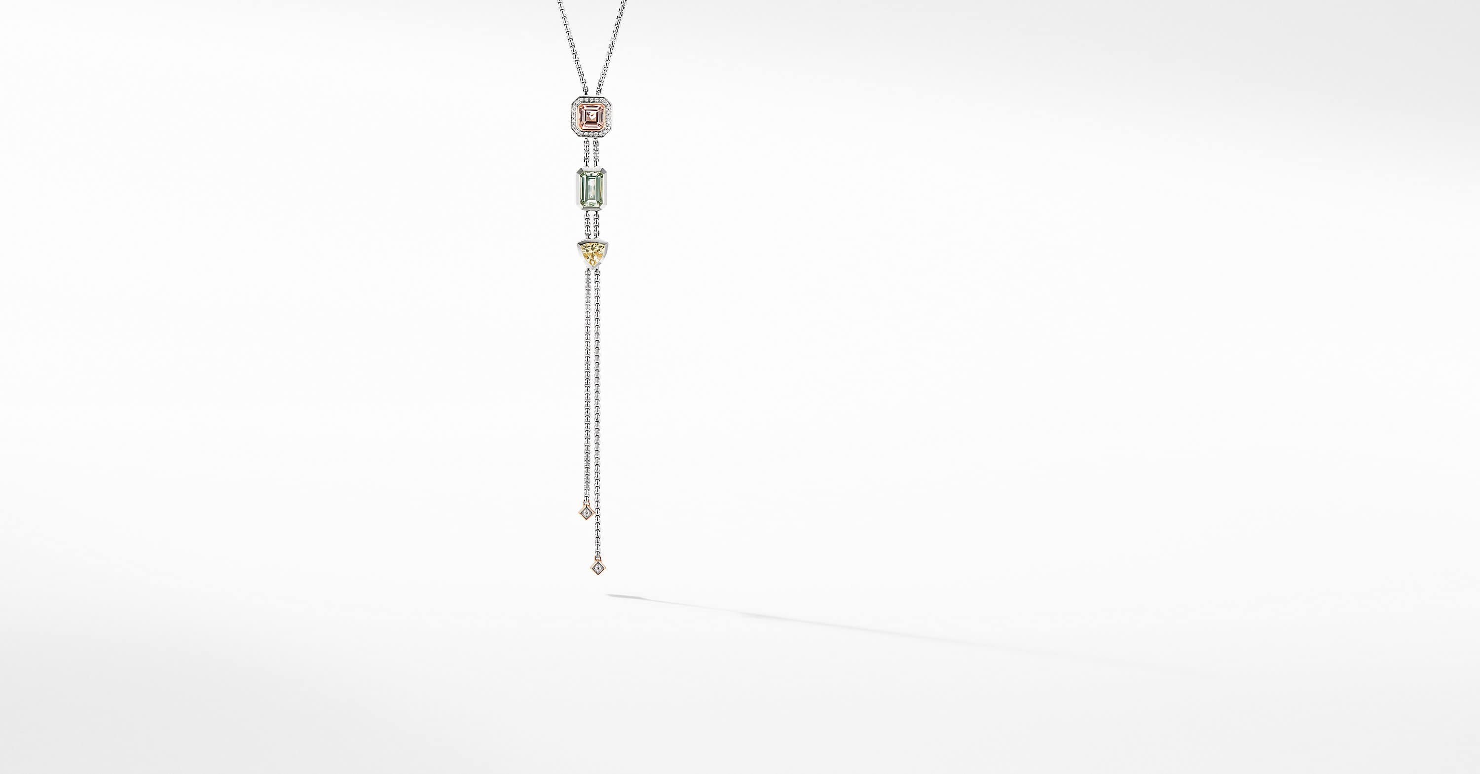 Novella Y Necklace with Pavé and 18K Rose Gold