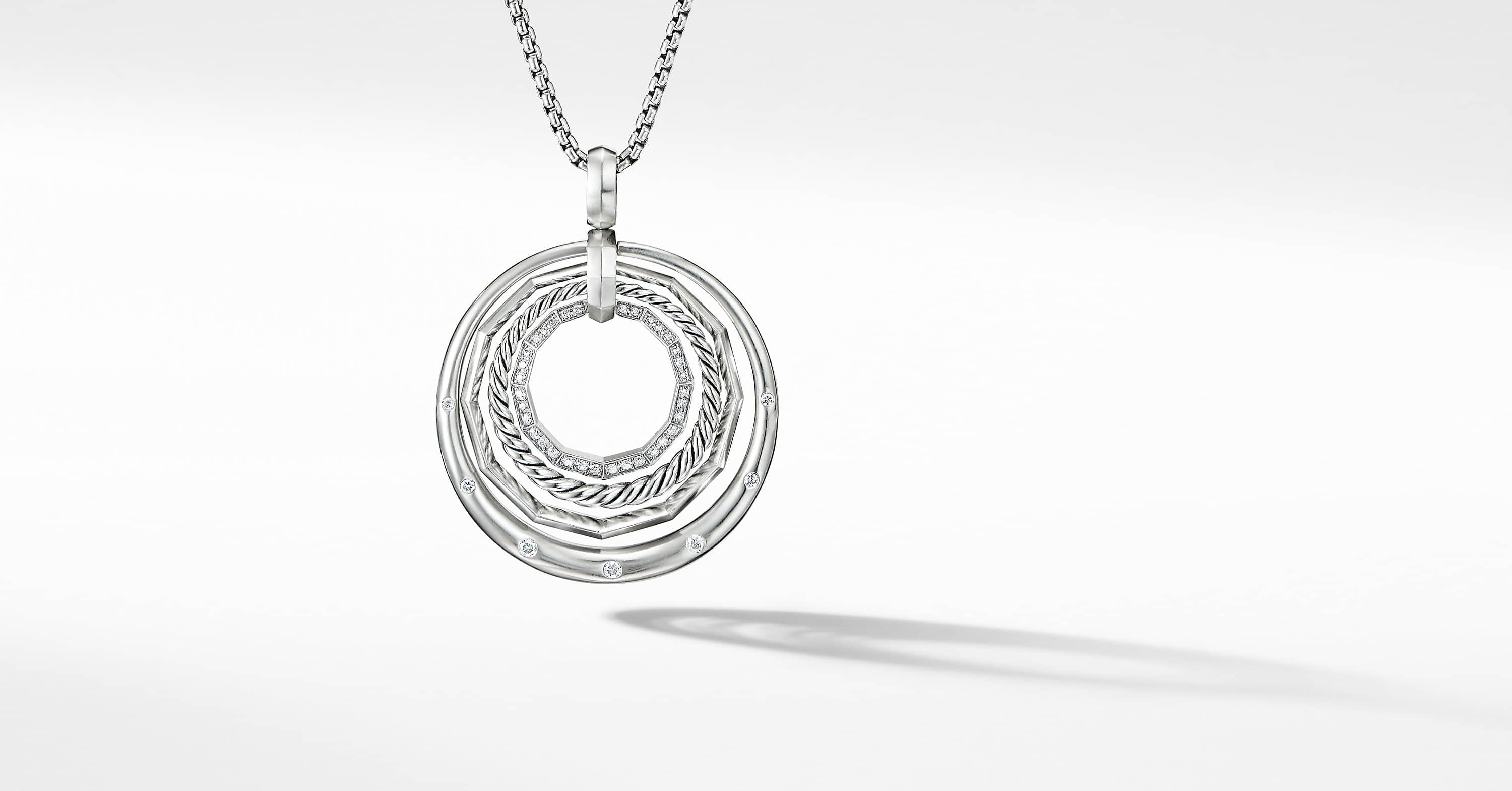 Stax Medium Pendant Necklace with Diamonds, 32mm