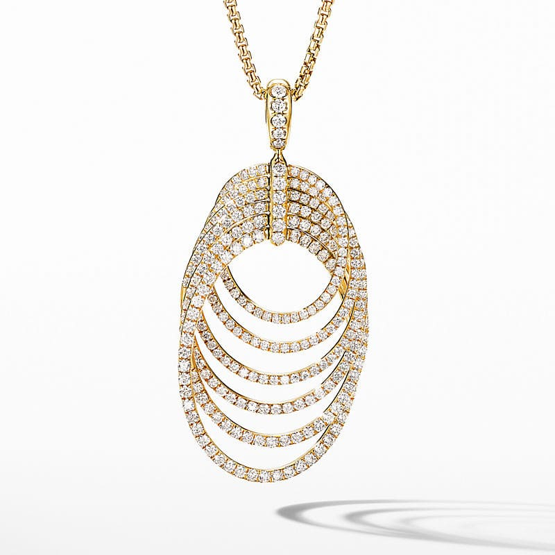 DY Origami Necklace in 18K Yellow Gold with Full Pavé