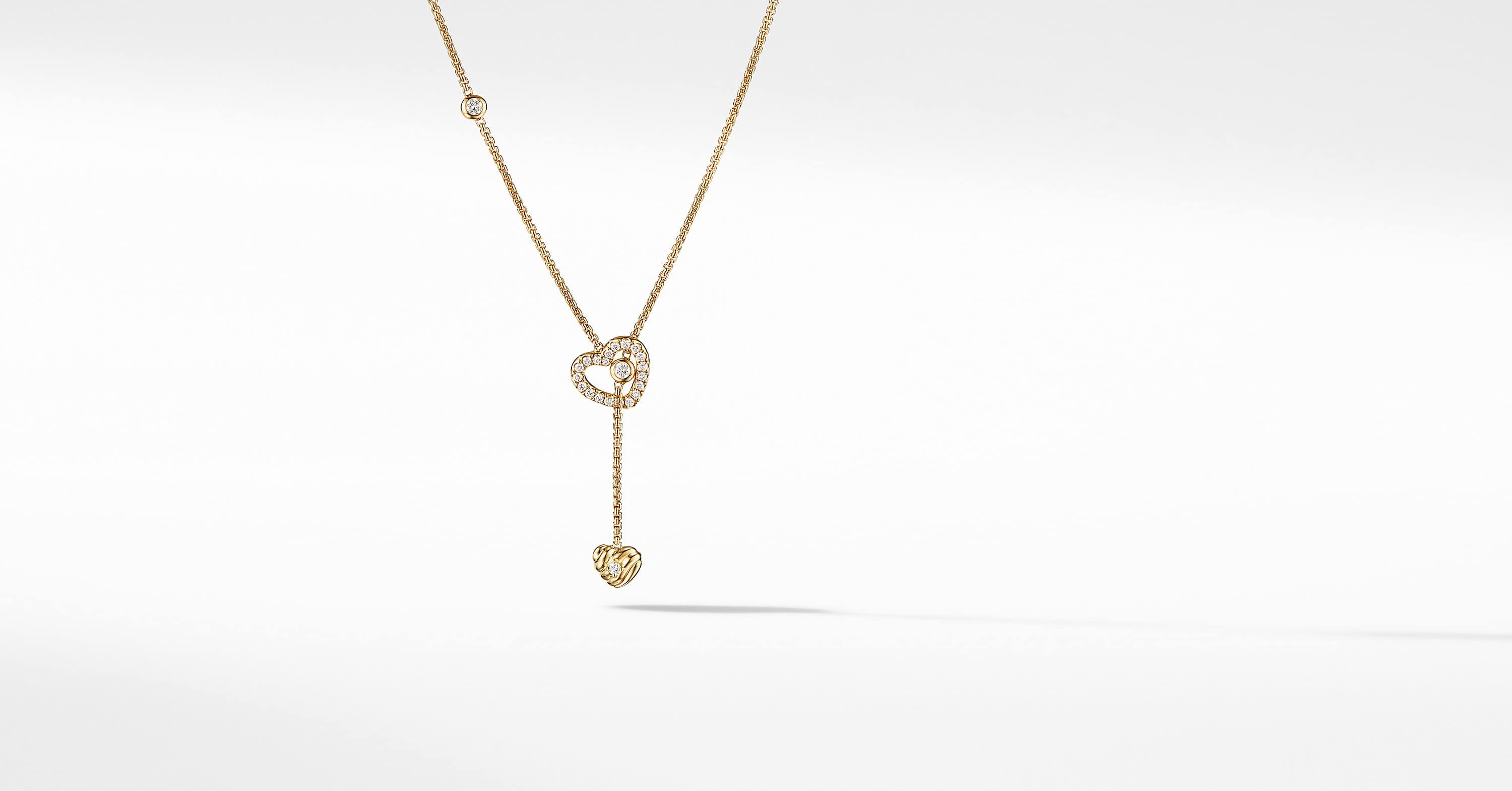 Heart Y Necklace in 18K Yellow Gold with Diamonds