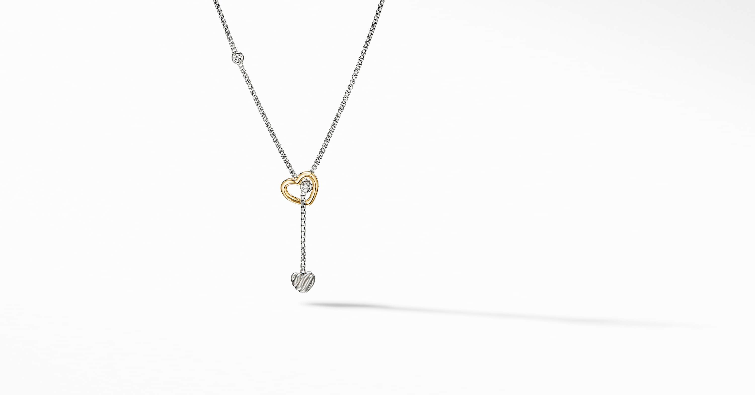Cable Collectibles Heart Y Necklace with 18K Yellow Gold and Diamonds