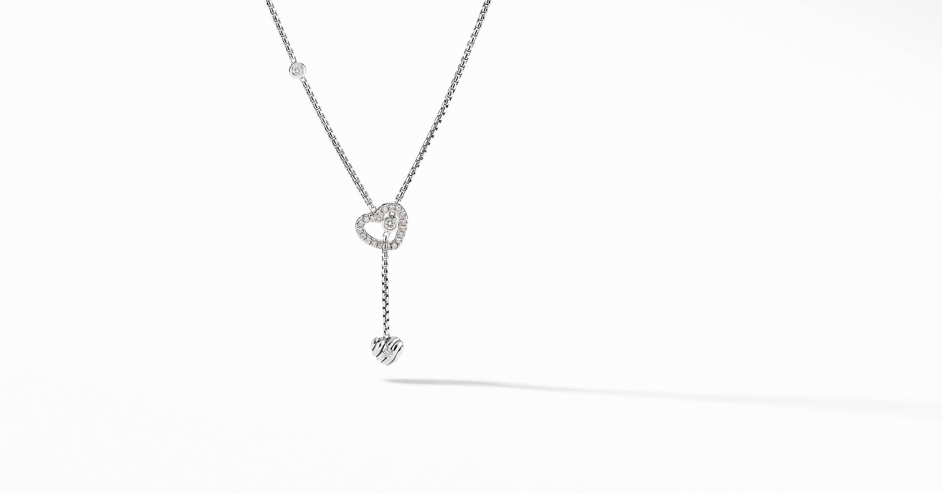 Heart Y Necklace with Diamonds
