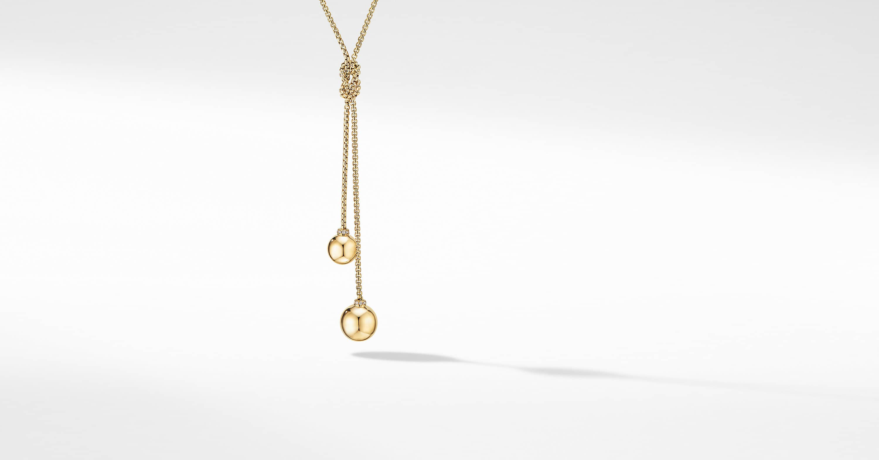 Solari Y Necklace in 18K Yellow Gold with Pavé