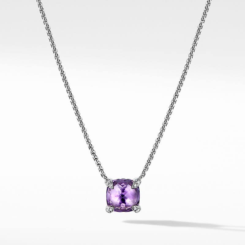 Chatelaine Pendant Necklace with Diamonds, 8mm
