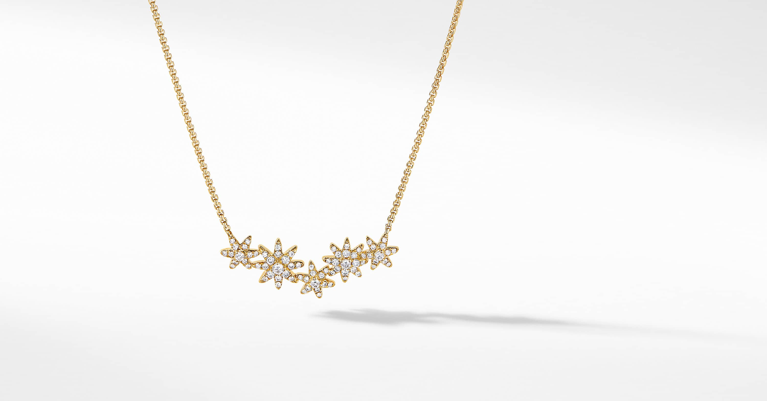 Starburst Cluster Station Necklace in 18K Yellow Gold with Diamonds