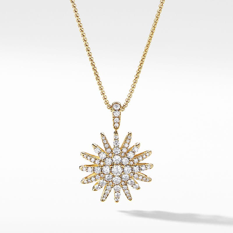Starburst Pendant Necklace in 18K Yellow Gold with Full Pavé, 20mm