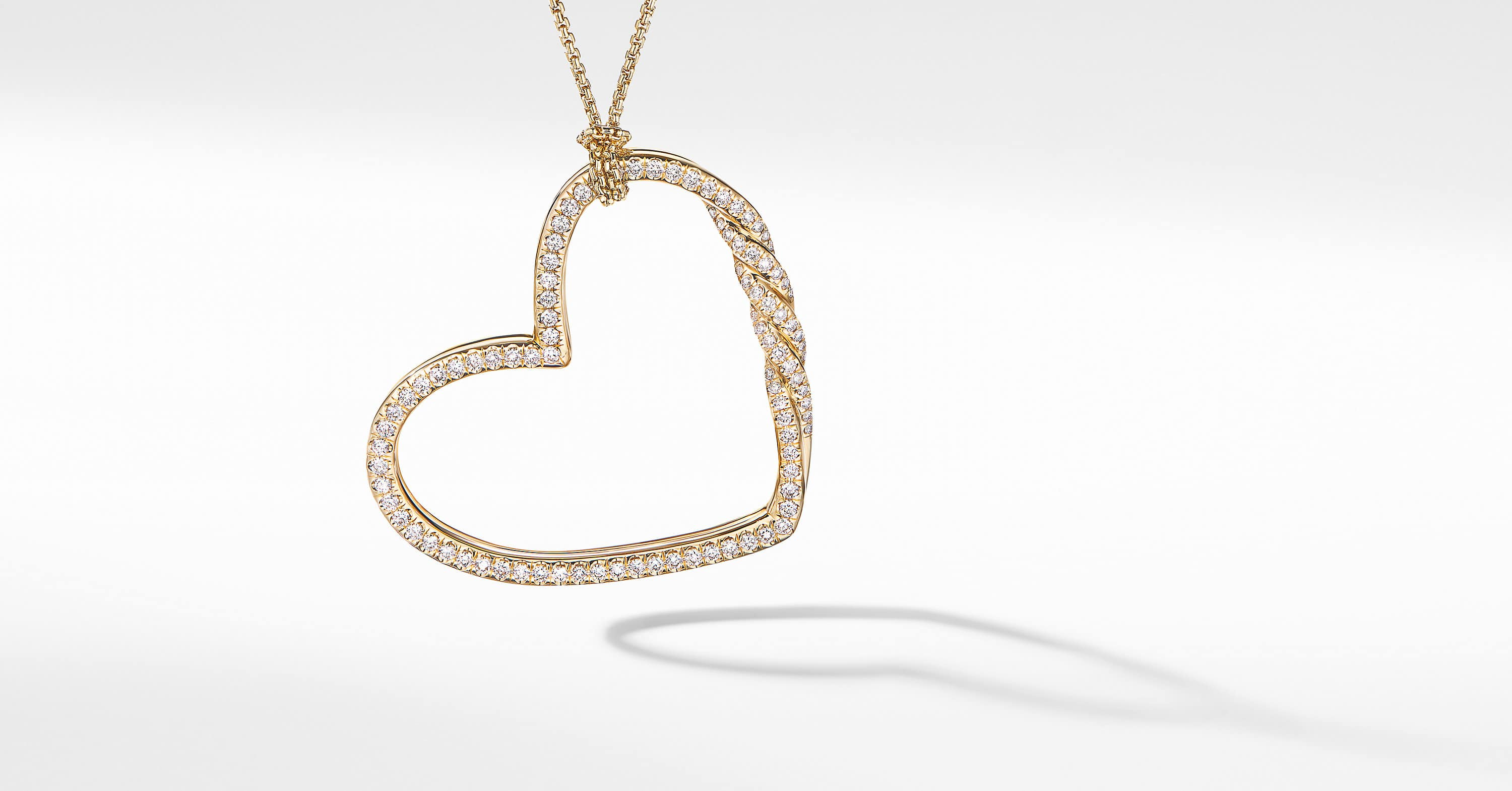 Continuance Heart Necklace in 18K Yellow Gold with Full Pavé