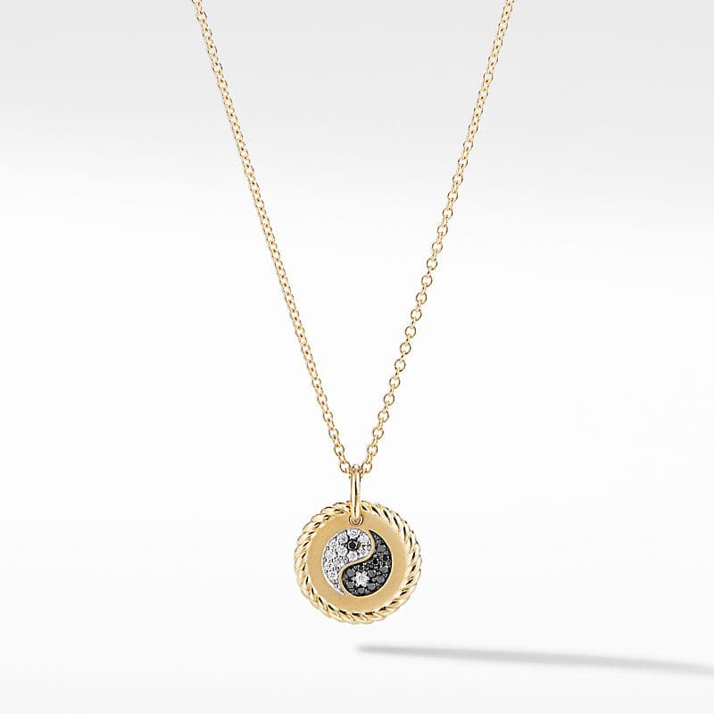 Cable Collectibles Yin Yang Necklace in 18K Yellow Gold with Diamonds