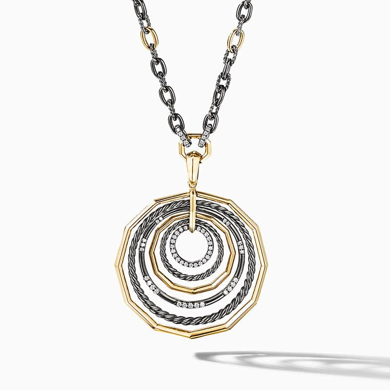 Stax Large Pendant Necklace in Blackened Silver with Diamonds