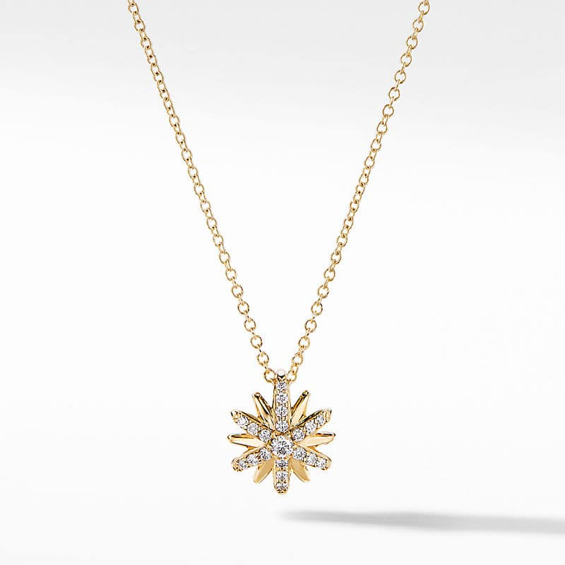 Petite Starburst Station Necklace in 18K Yellow Gold with Diamonds, 10mm