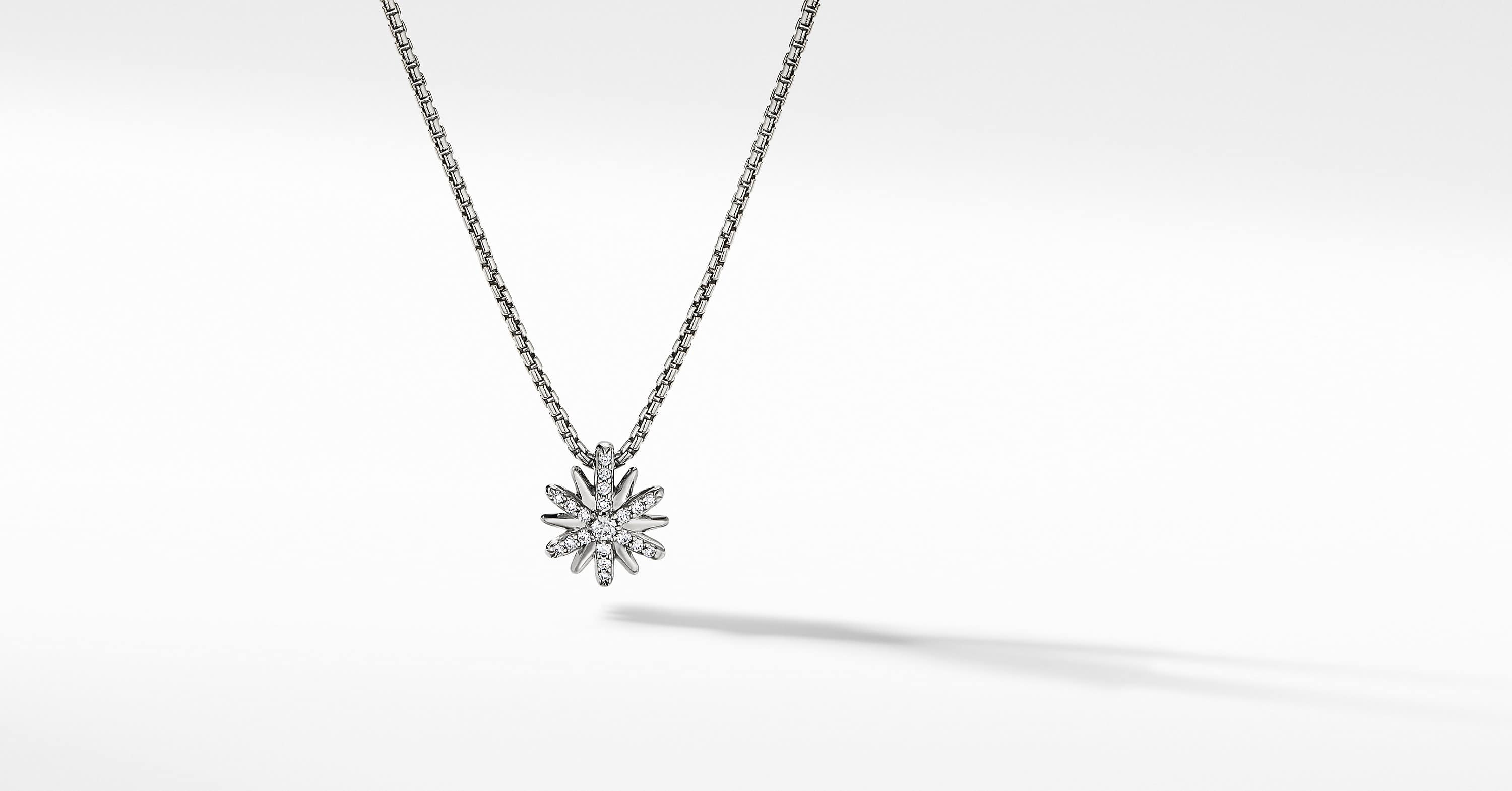 Petite Starburst Station Necklace with Diamonds, 10mm