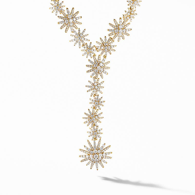Starburst Statement Y Necklace in 18K Yellow Gold with Full Pavé