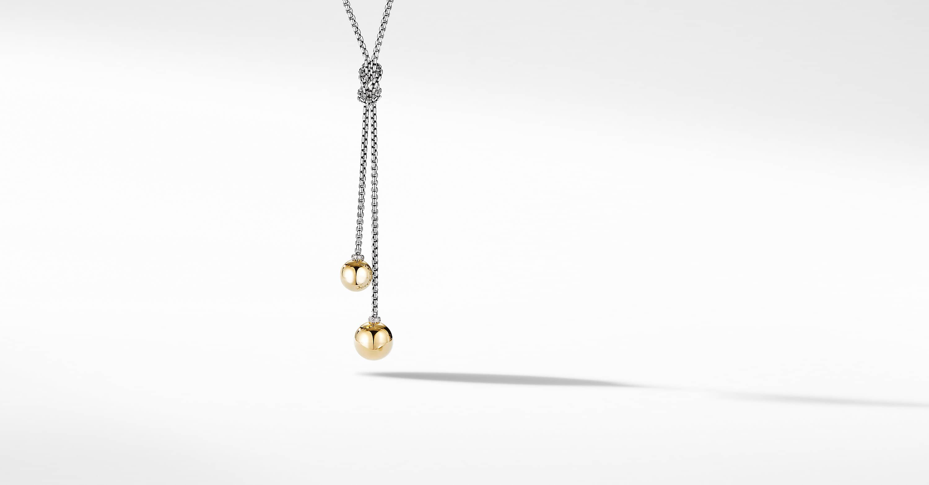 Solari Knot Necklace with 18K Yellow Gold and Pavé