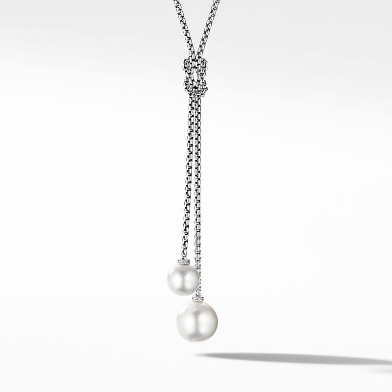 Solari Knot Necklace with Pearls and Pavé Diamonds