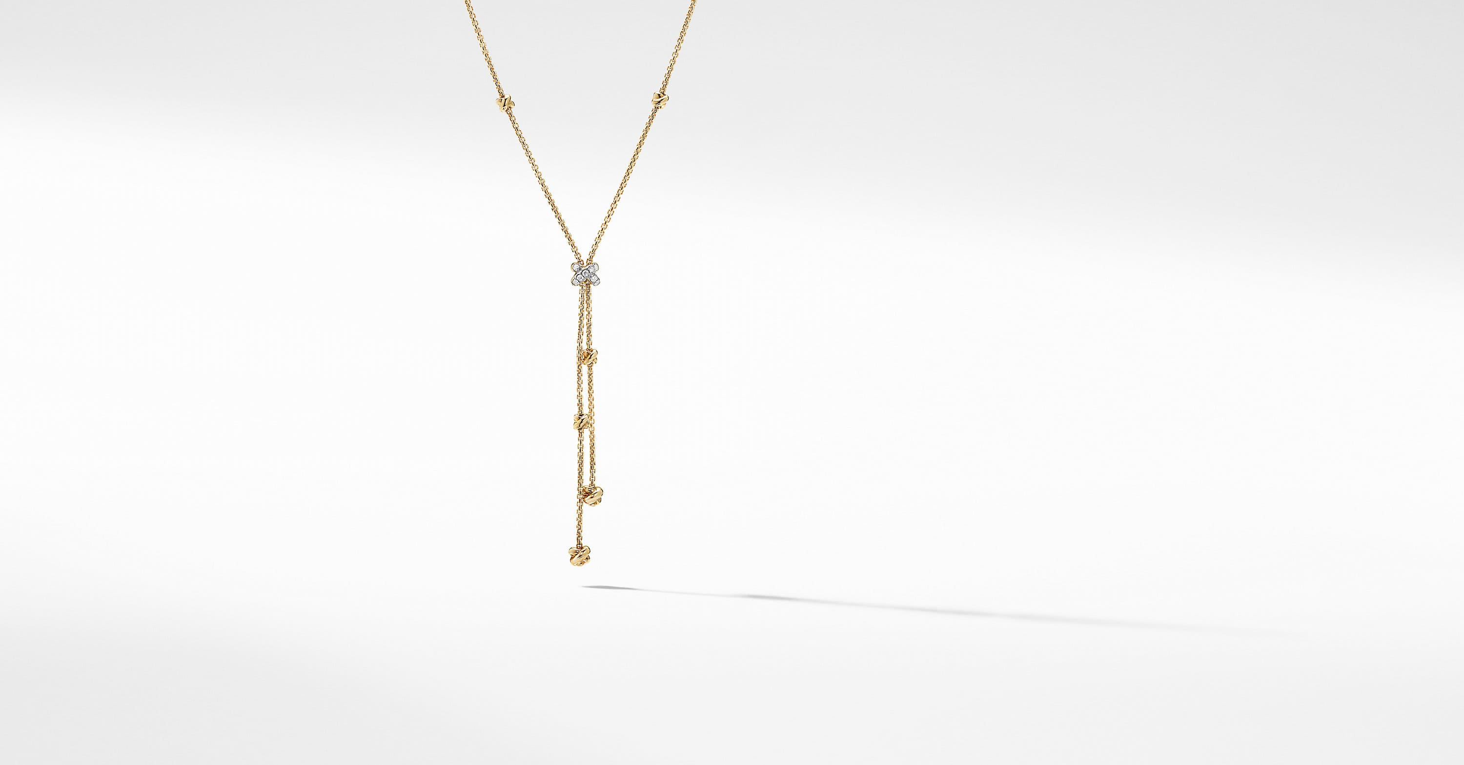 Petite Helena Y Necklace in 18K Yellow Gold with Diamonds