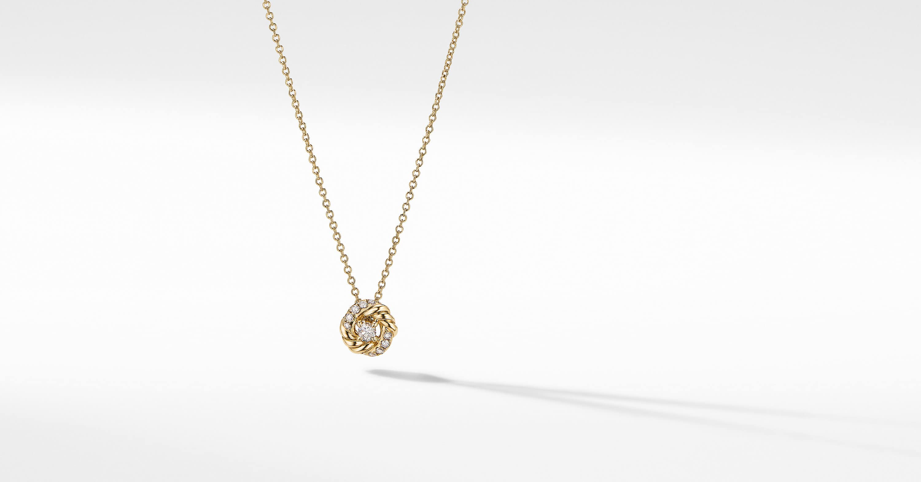 Petite Infinity Pendant Necklace in 18K Yellow Gold with Diamonds, 8mm