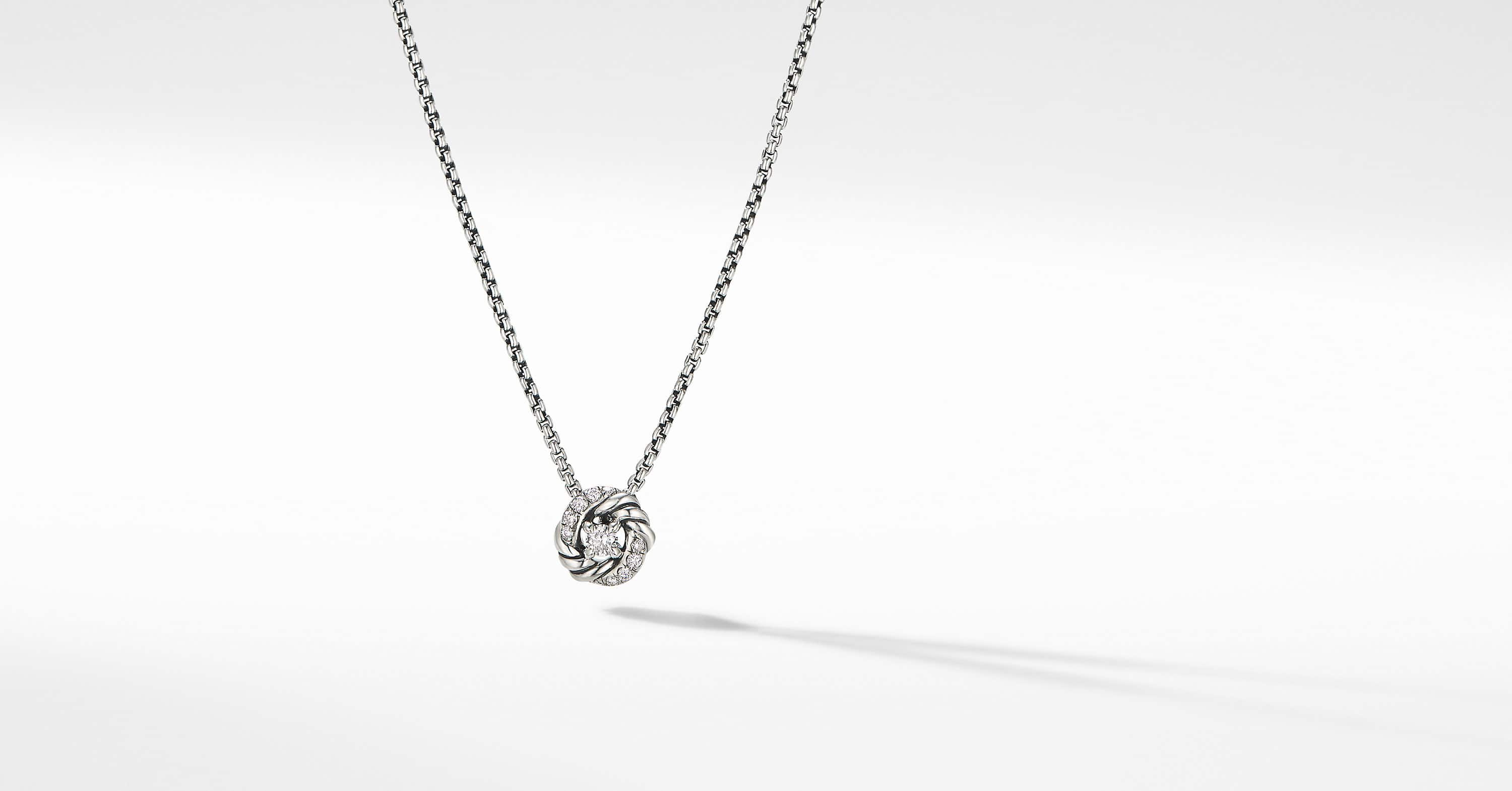 Petite Infinity Pendant Necklace with Diamonds, 8mm