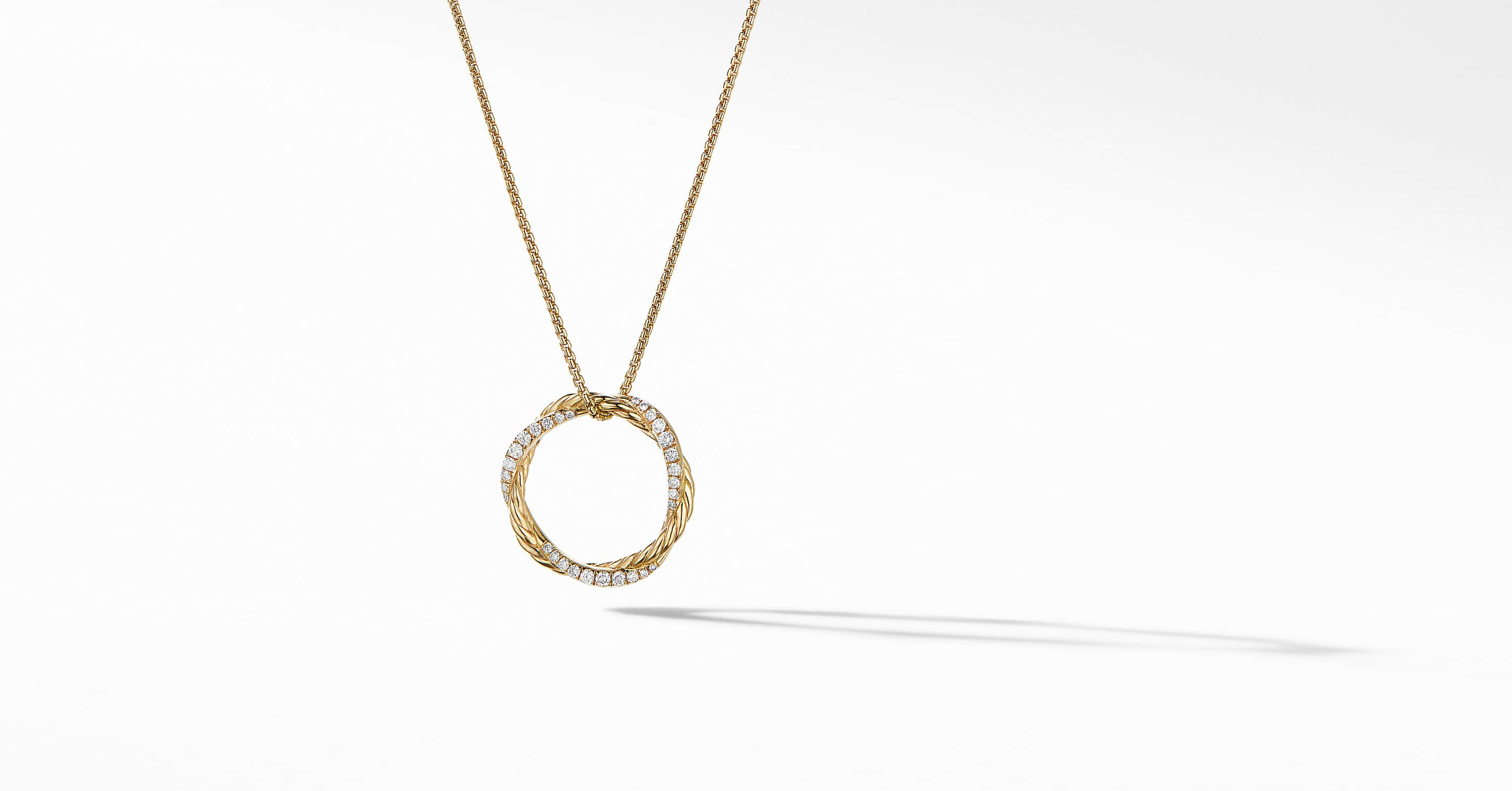 Petite Infinity Necklace in 18K Yellow Gold with Diamonds, 18mm