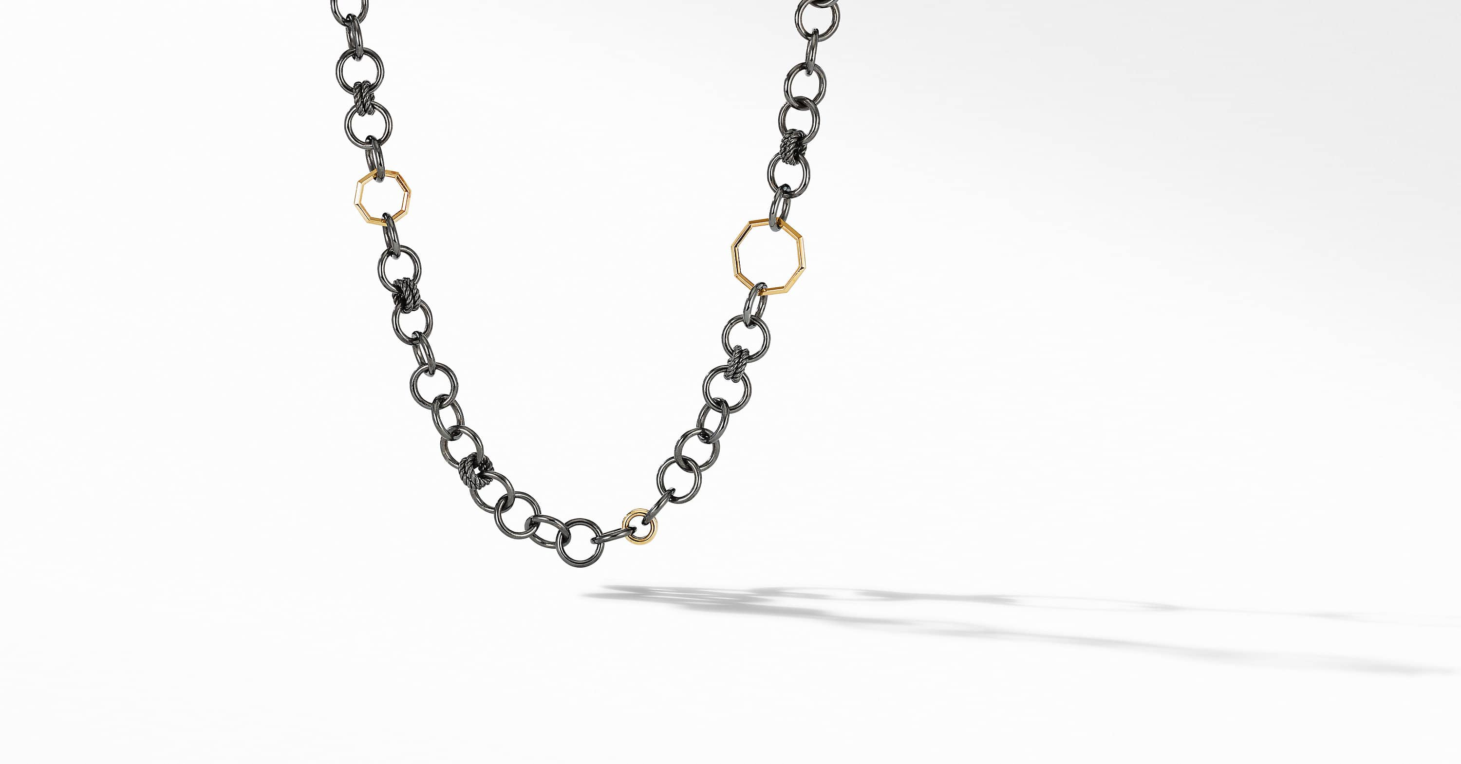 Stax Round Link Necklace in Blackened Silver