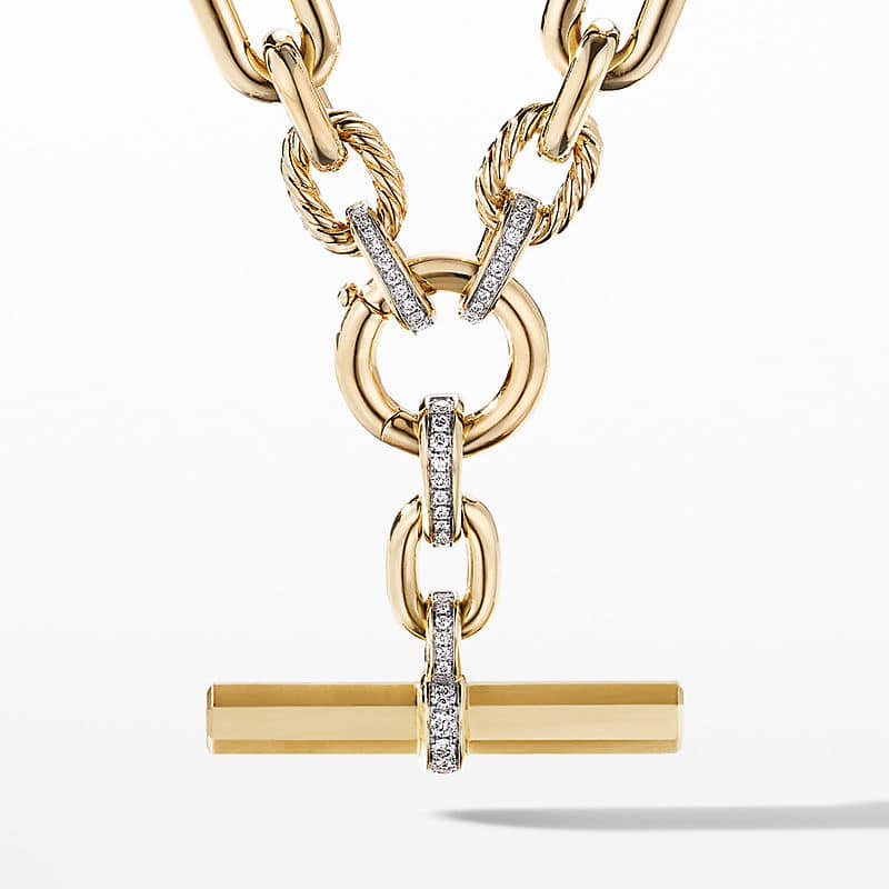 Lexington Chain Necklace in 18K Yellow Gold with Diamonds, 9.8mm