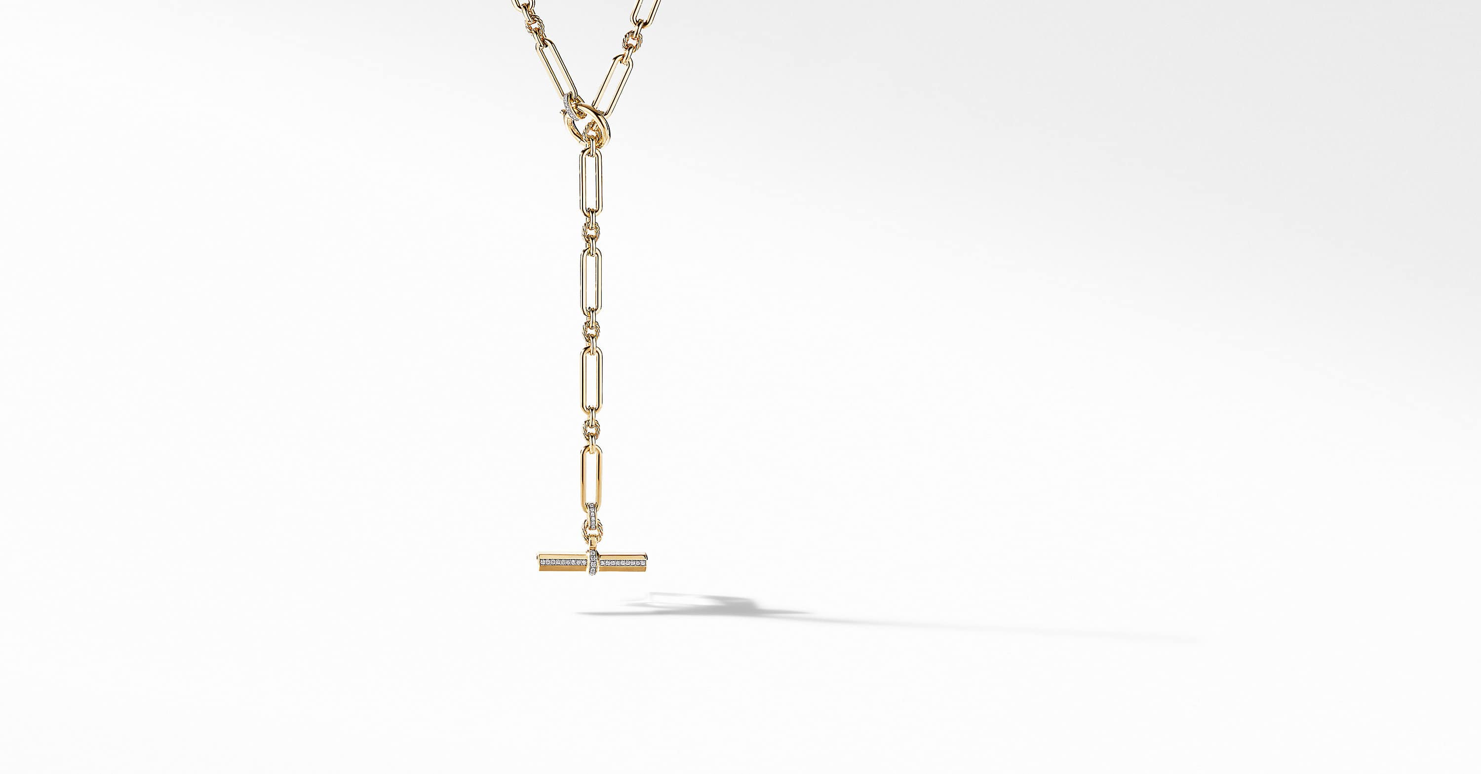 Lexington Toggle Necklace in 18K Yellow Gold with Diamonds, 6.5mm