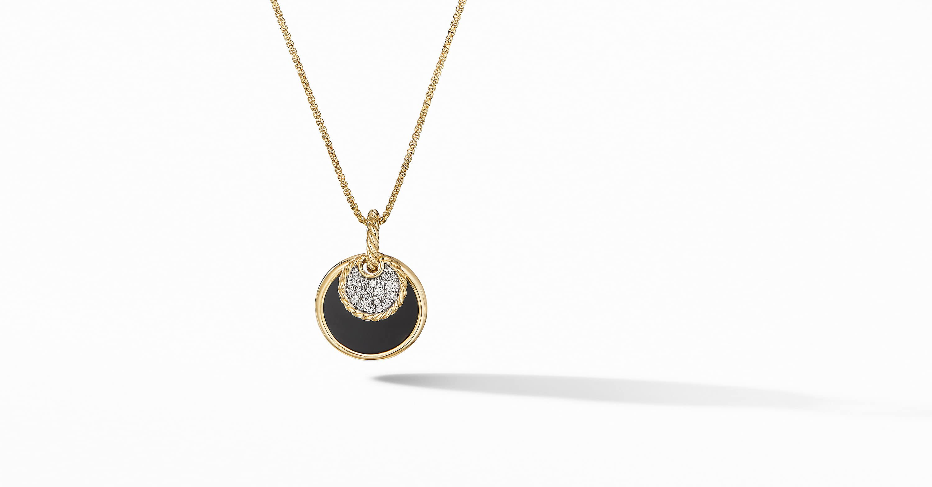 DY Elements Convertible Pendant Necklace in 18K Yellow Gold with Diamonds, 21.5mm