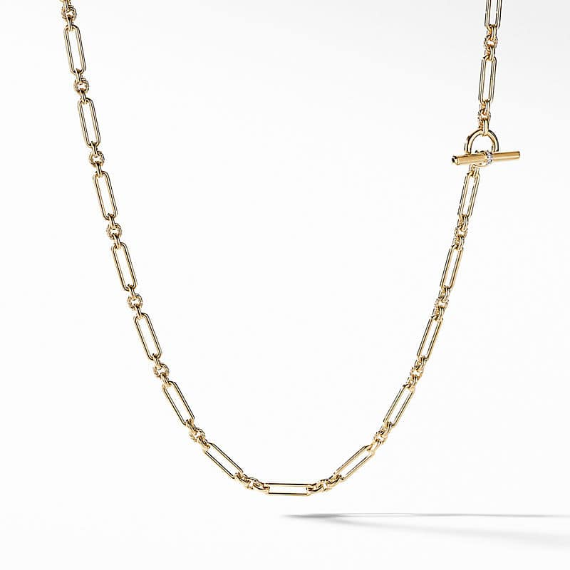 Lexington Chain Necklace in 18K Yellow Gold with Diamonds, 4.5mm
