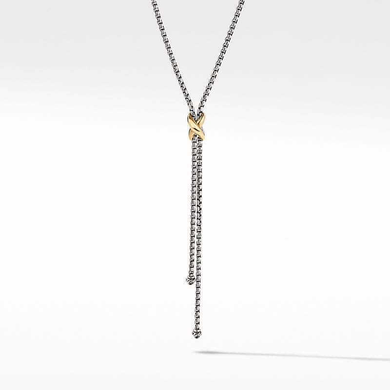 Petite X Lariat Y Necklace with 18K Yellow Gold