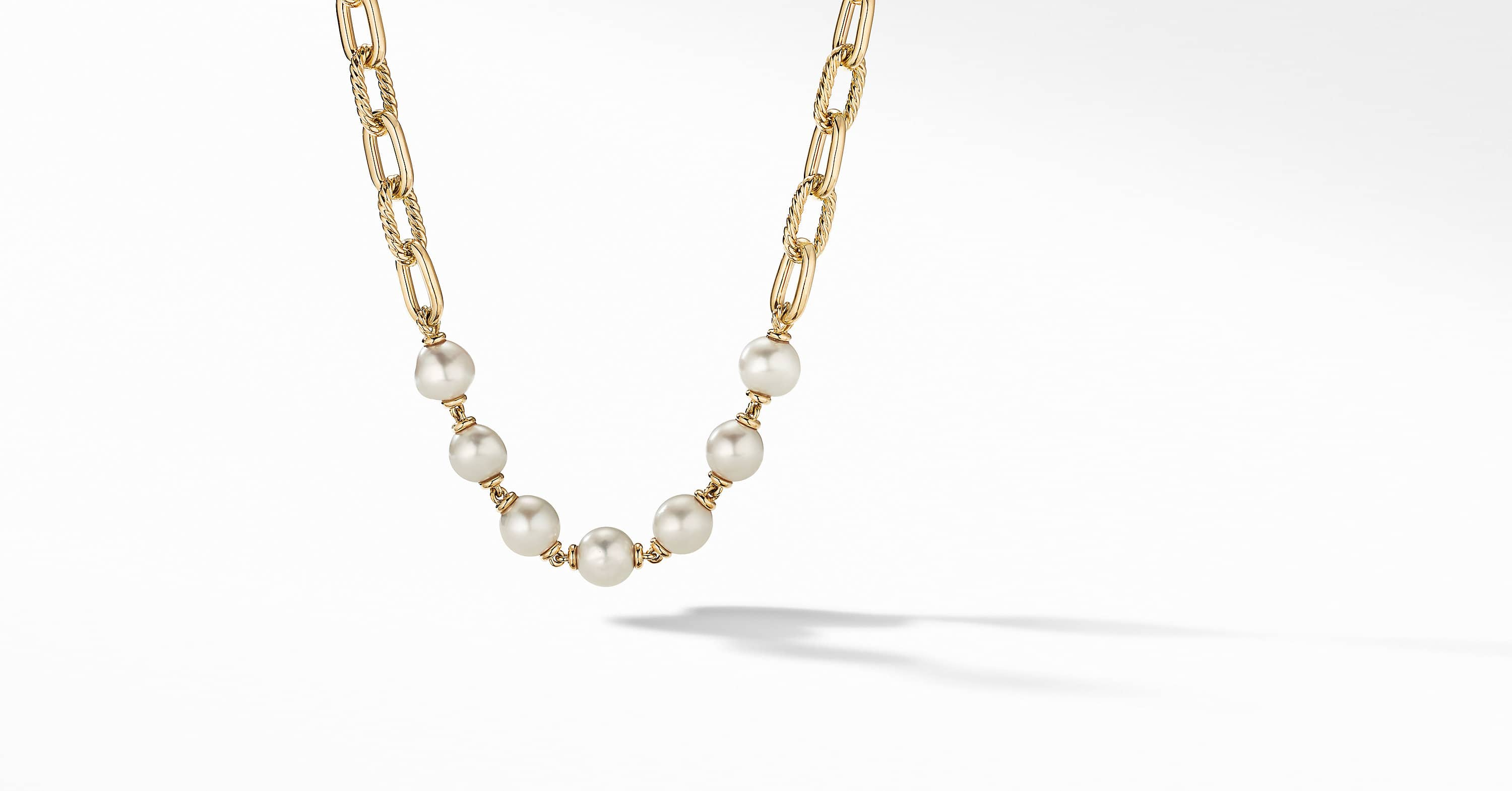 DY Madison Pearl Chain Necklace in 18K Yellow Gold, 11mm