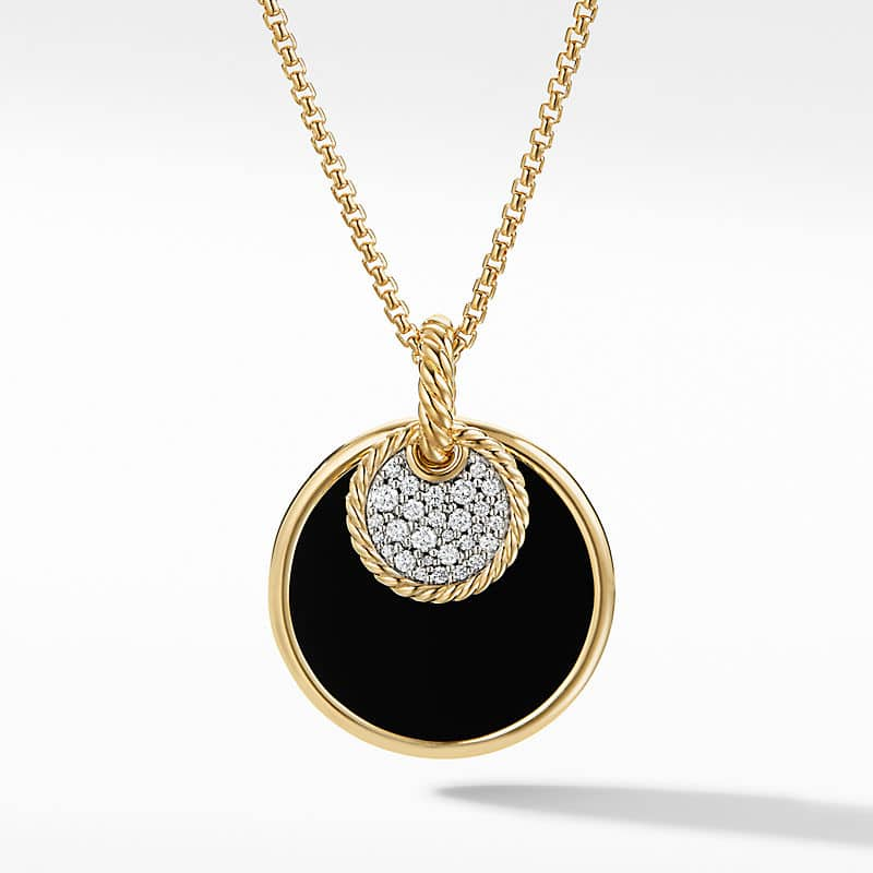 DY Elements Large Convertible Pendant Necklace in 18K Yellow Gold with Diamonds, 26.6mm