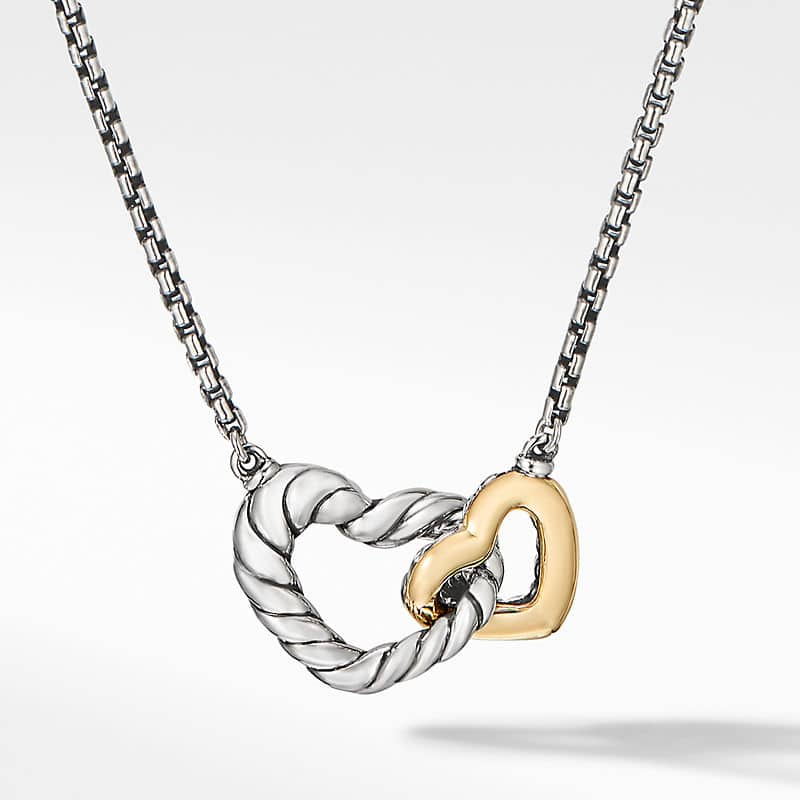 Cable Collectibles Double Heart Necklace with 18K Yellow Gold