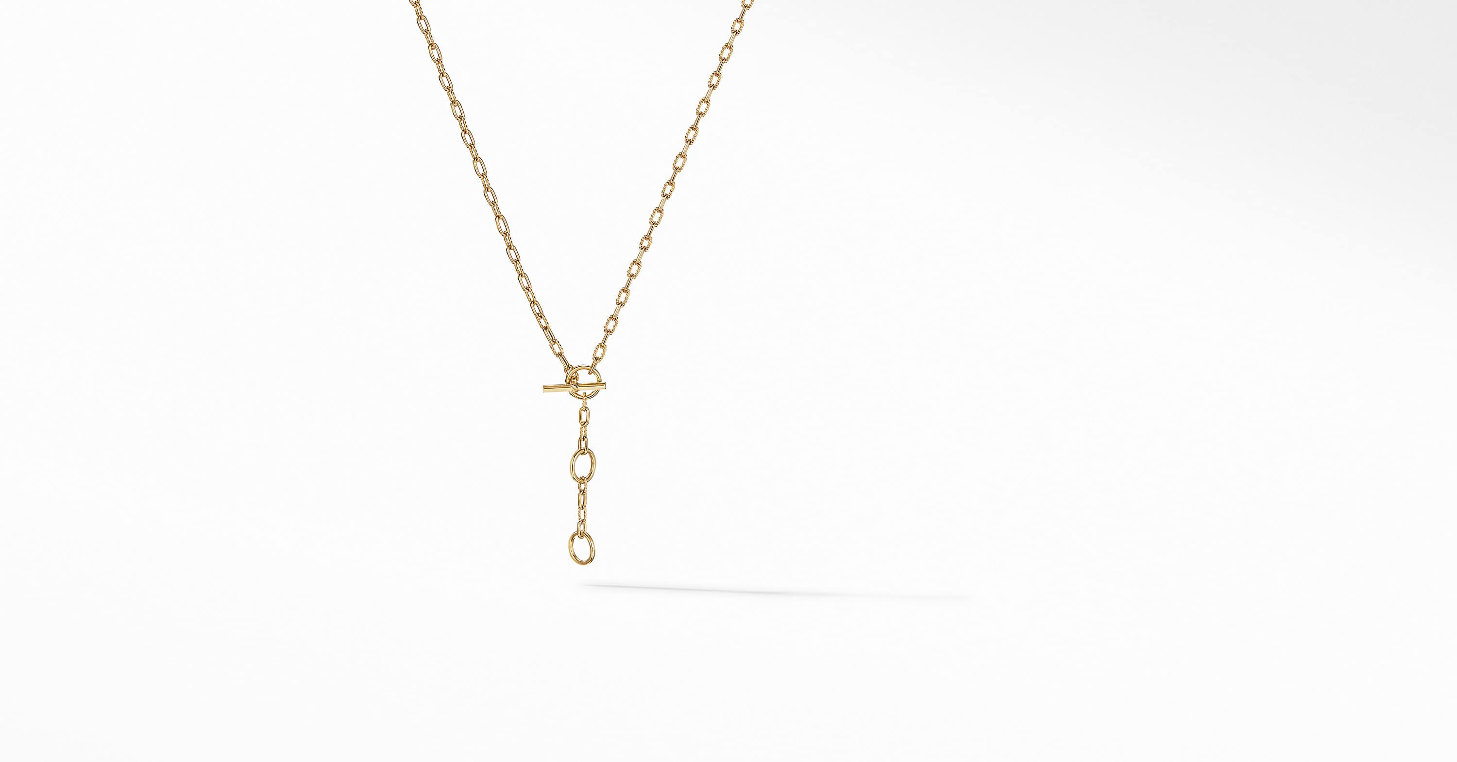 DY Madison Three Ring Chain Necklace in 18K Yellow Gold
