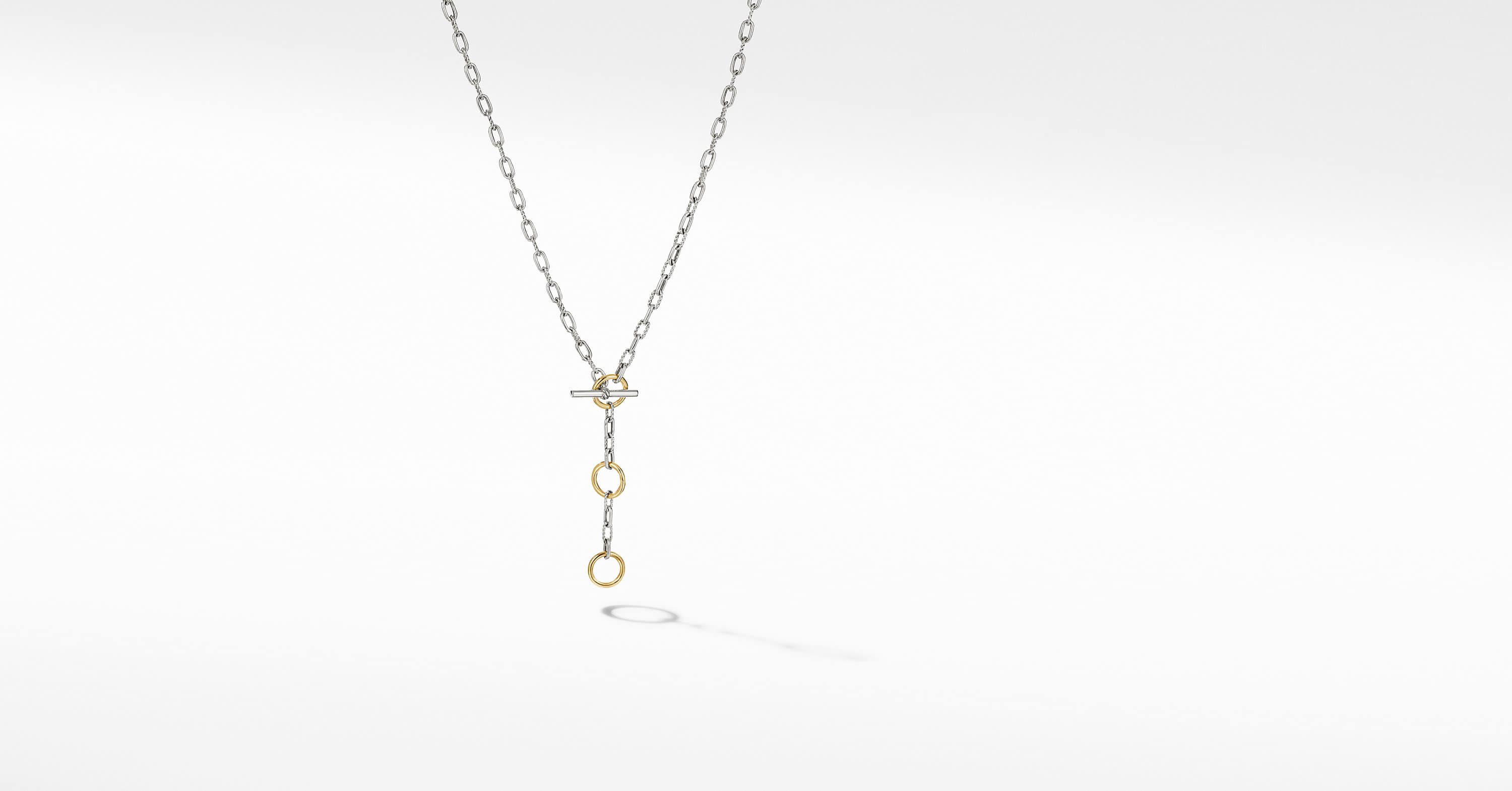 DY Madison Three Ring Chain Necklace with 18K Yellow Gold
