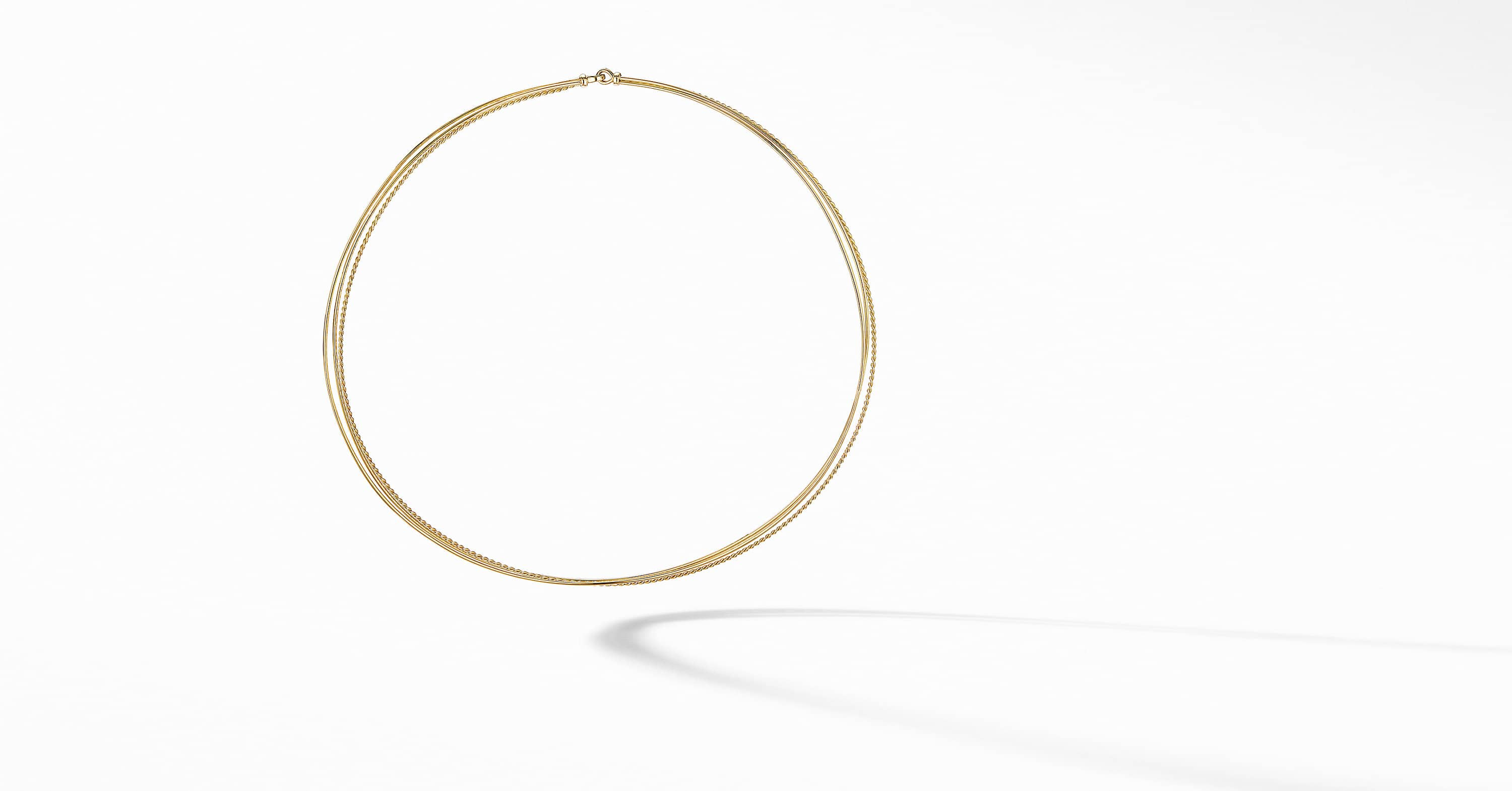 DY Elements Three-Row Hard Wire Necklace in 18K Yellow Gold