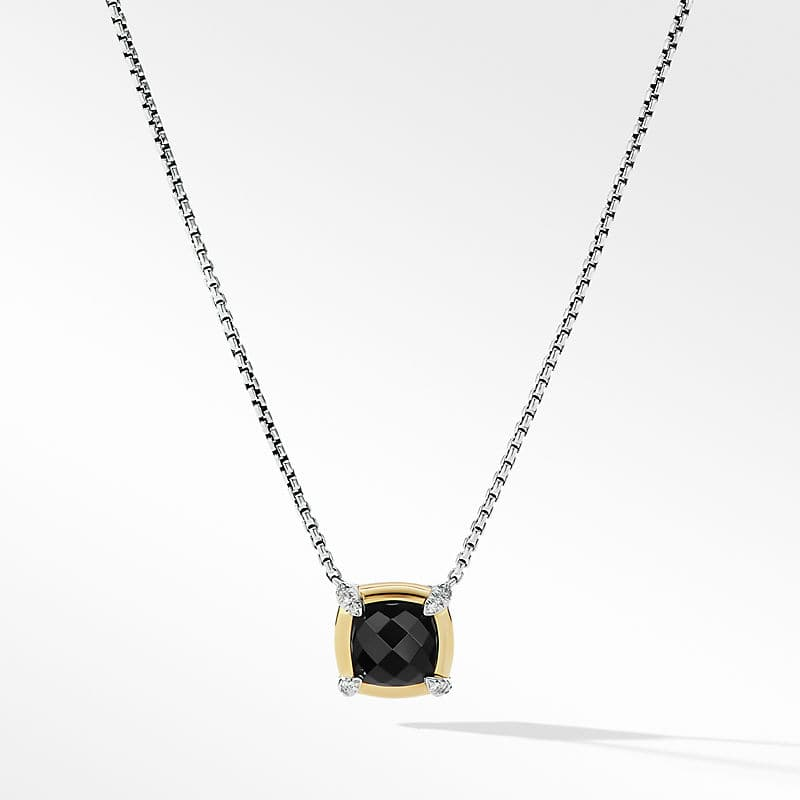 Petite Chatelaine Pendant Necklace with 18K Yellow Gold Bezel and Diamonds, 10mm