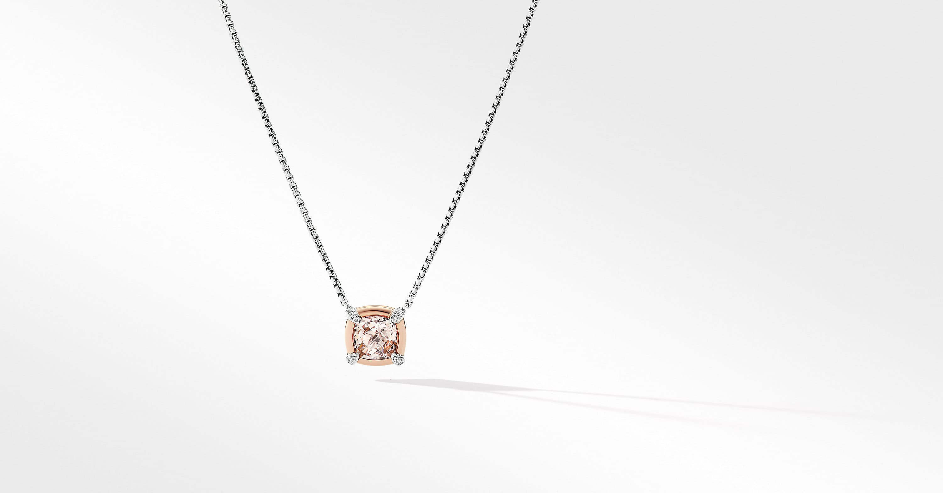 Petite Chatelaine Pendant Necklace with 18K Rose Gold Bezel and Diamonds, 10mm