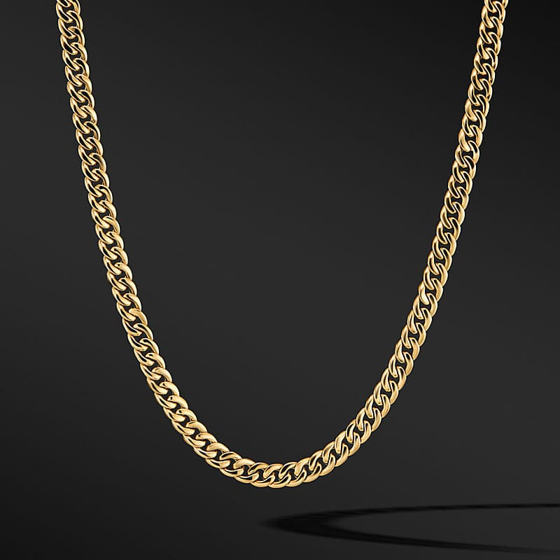 Curb Chain Necklace in 18K Yellow Gold, 8mm