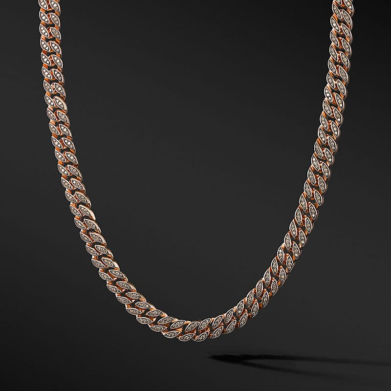 Curb Chain Necklace in 18K Rose Gold, 8mm