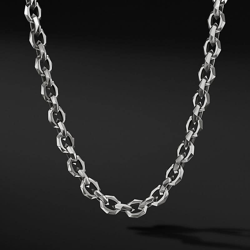 Torqued Faceted Chain Link Necklace, 11.6mm