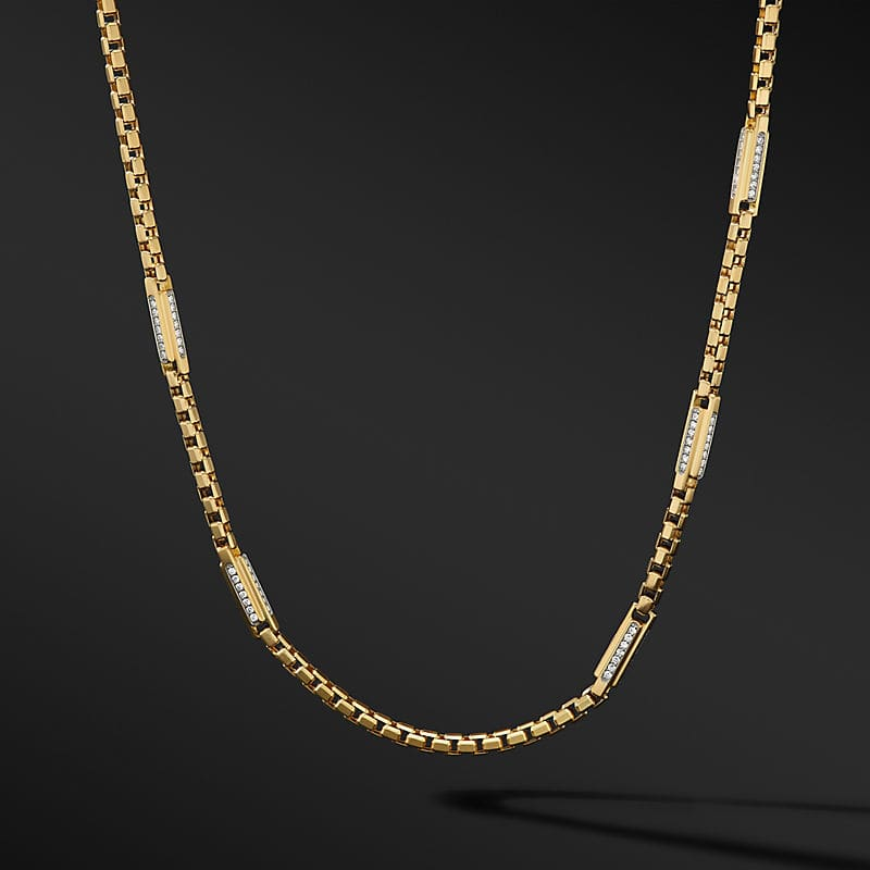 Streamline® Station Box Chain Necklace in 18K Yellow