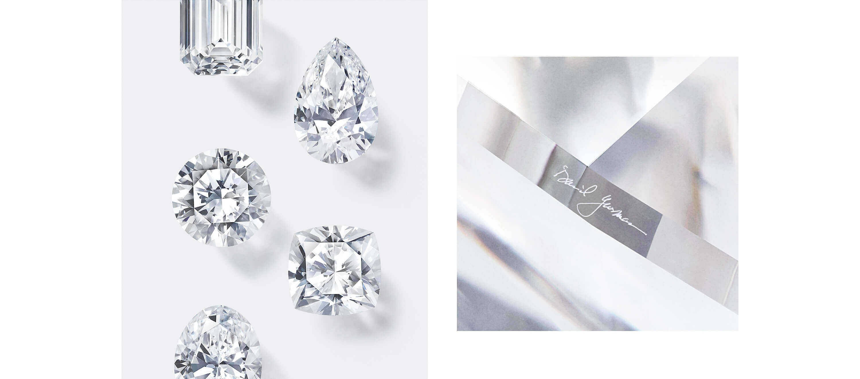 Two photos side by side. One shows loose diamonds in various shapes on a white background. The other is a close-up of a diamond, showing the faceting on one of its sides.