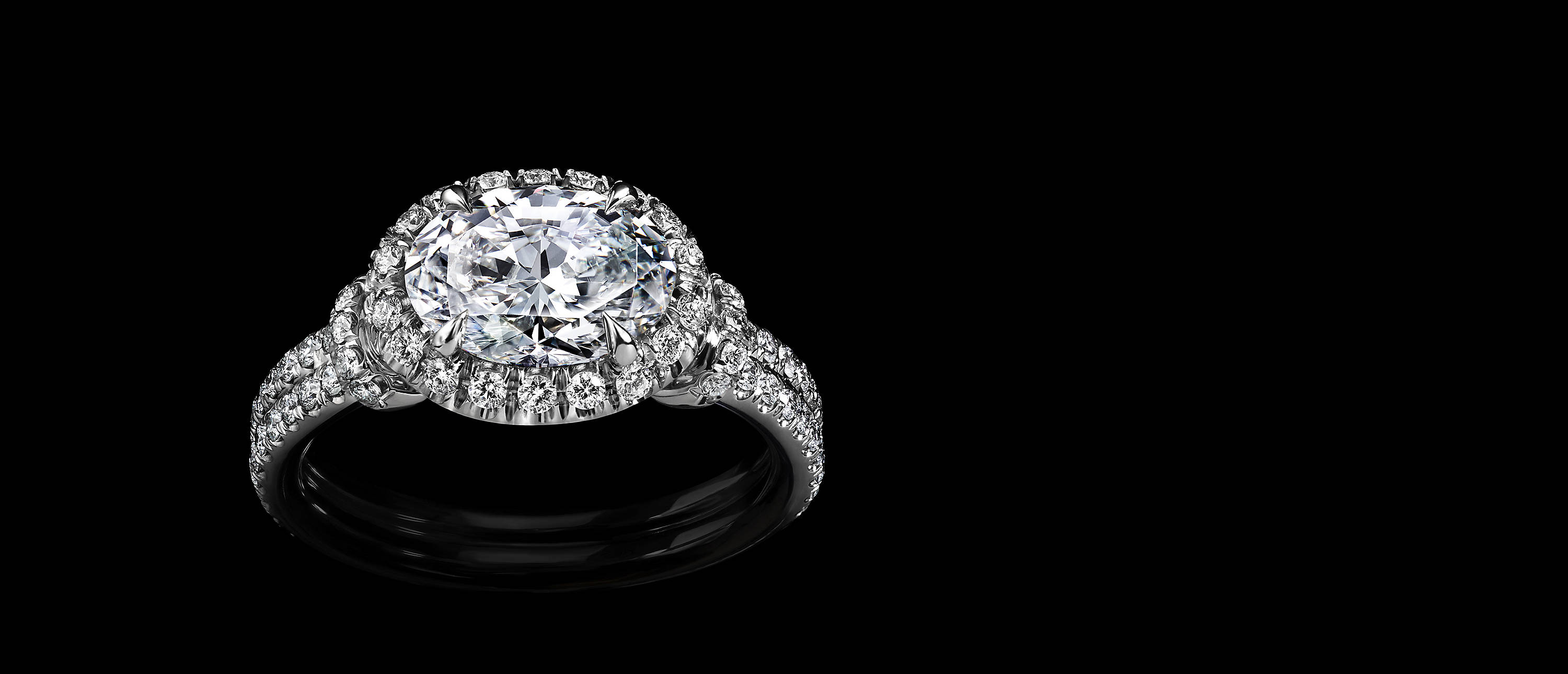Shot against black, a DY Capri engagement ring in platinum with an oval-shaped center stone, a halo of pavé diamonds and two rows of pavé diamonds on its shank.