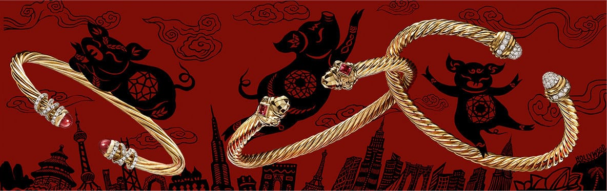 A red-and-black illustration of three pigs interacting with real David Yurman Cable bracelets in 18K yellow gold.