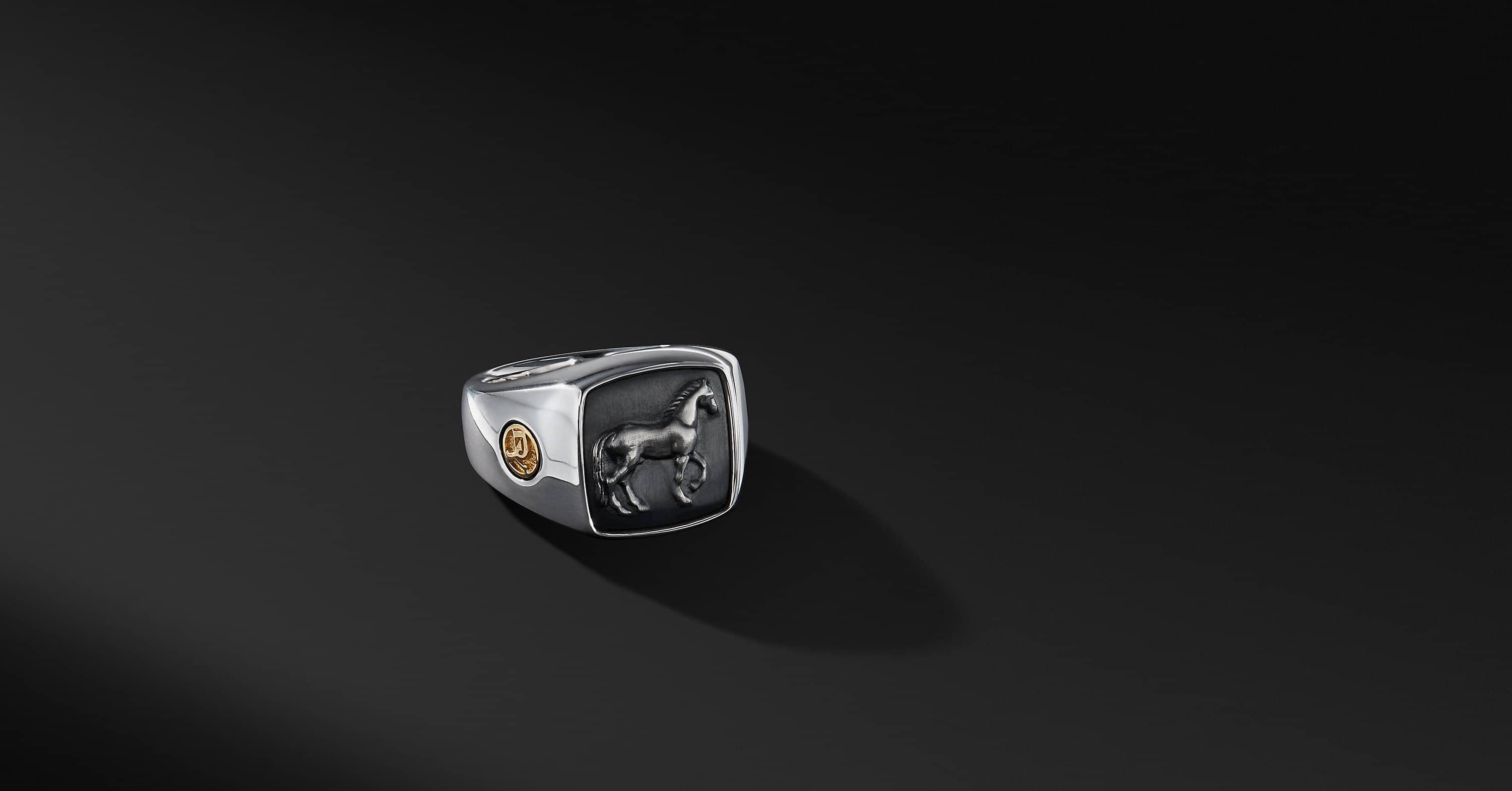 Petrvs Horse Signet Ring with an Accent of 22K Gold