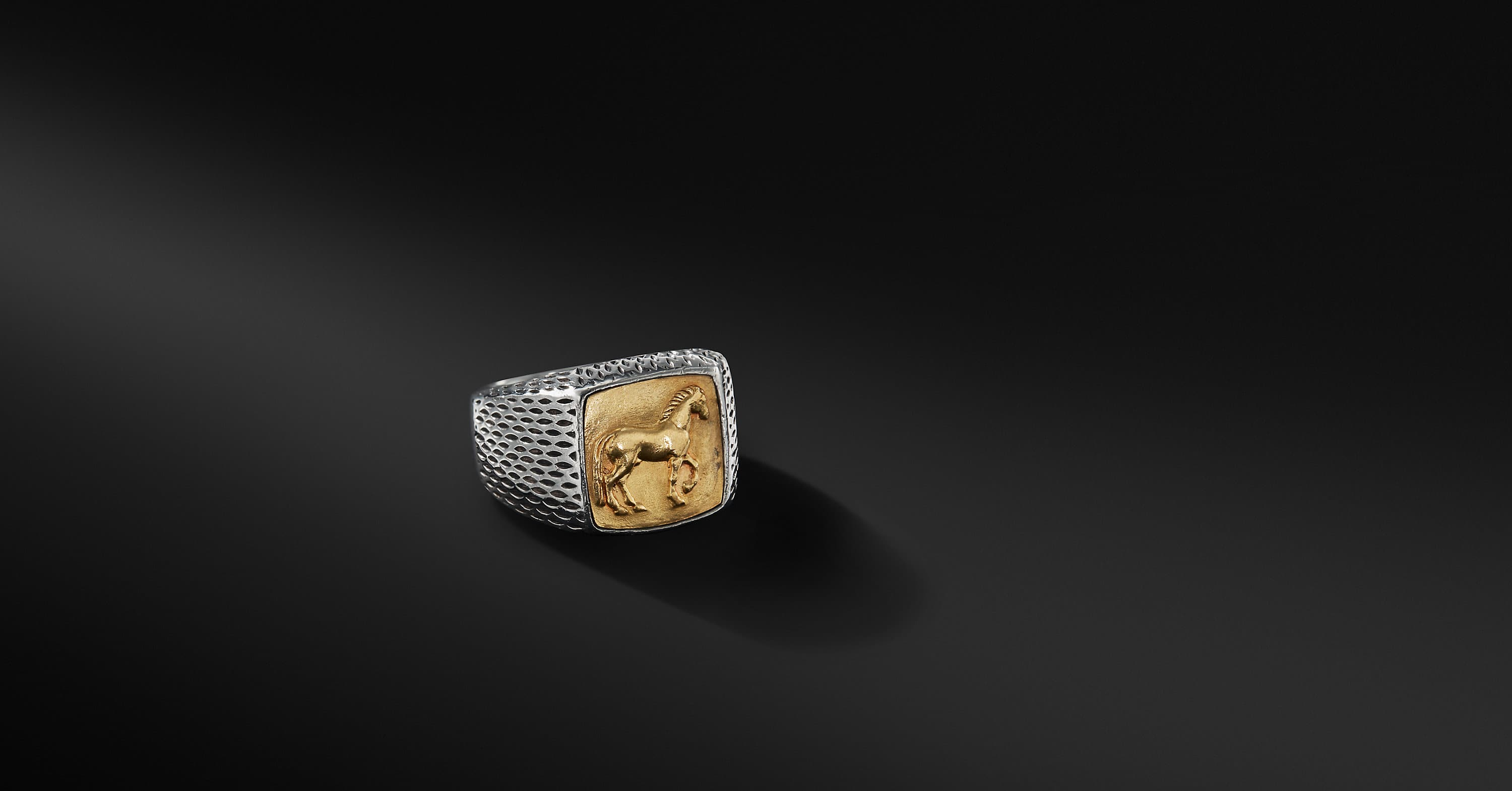 Petrvs Horse Signet Ring with 22K Gold