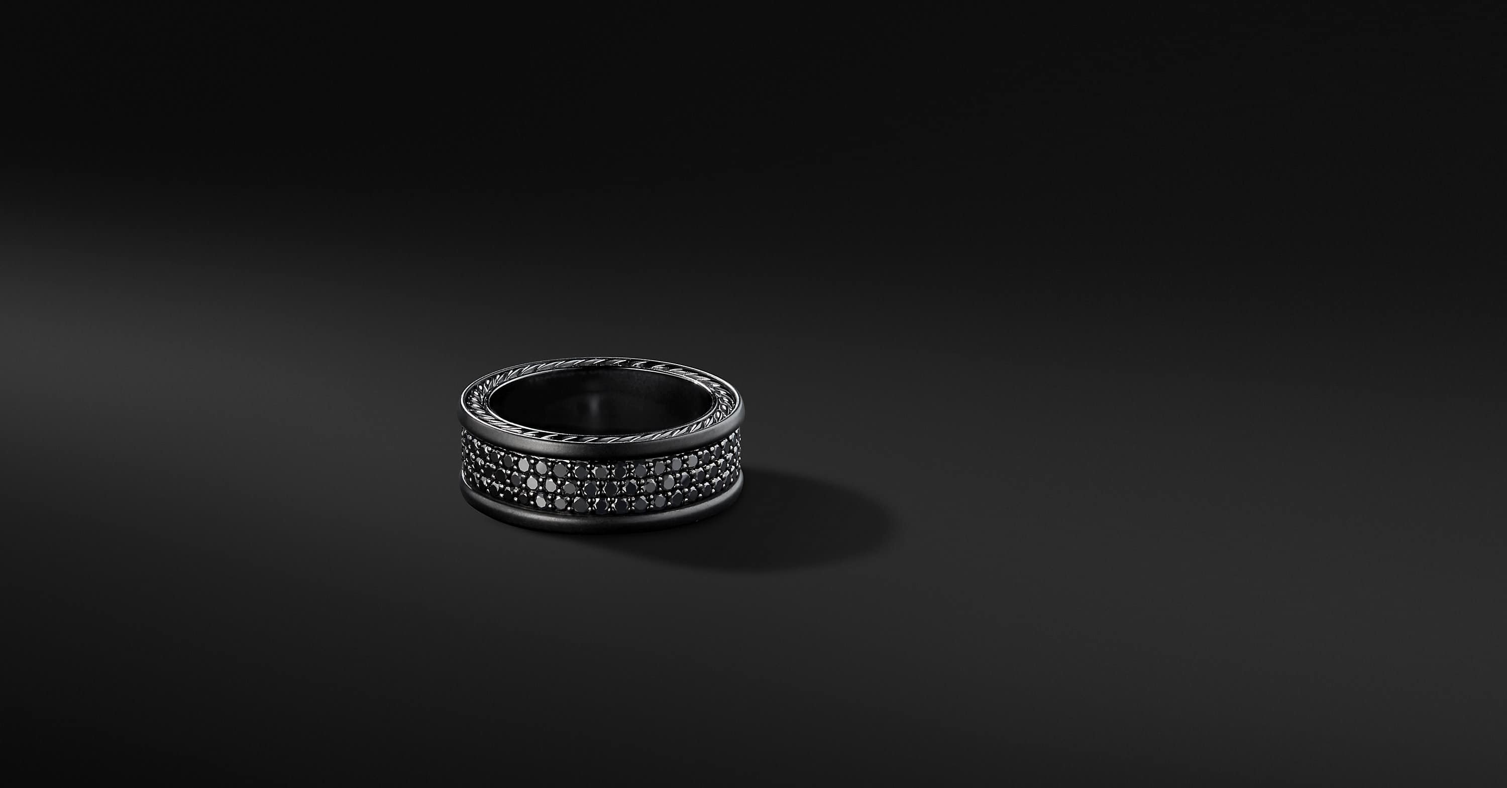 Streamline Three Row Pavé Band in Black Titanium, 8.5mm