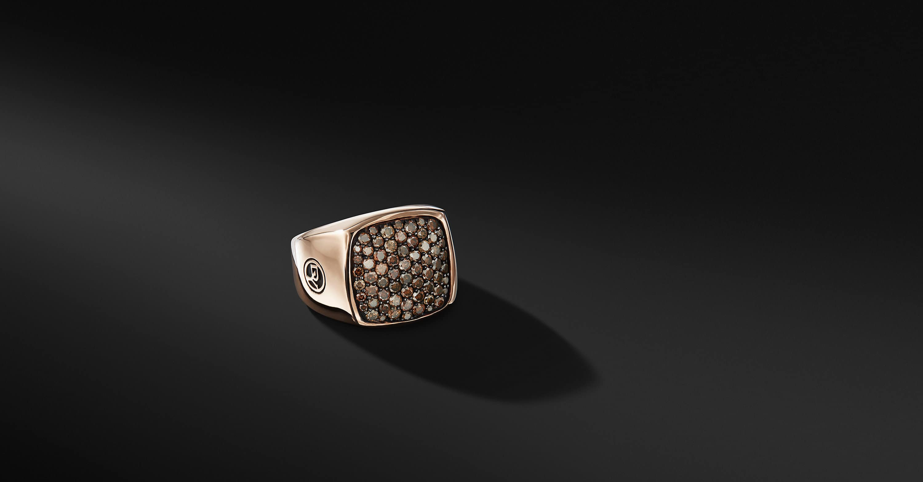 Pavé Signet Ring in 18K Rose Gold