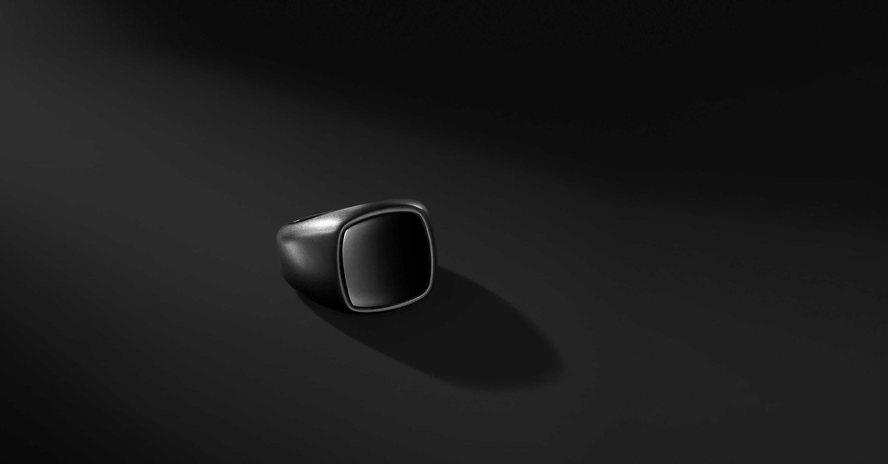 Exotic Stone Signet Ring in Black Titanium